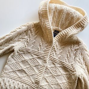 American Eagle Hooded Hand Knit Lambs Wool Cardigan Size M